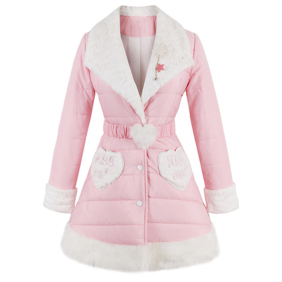 Luxury Pink Sweet Lolita Dress Coat Windbreaker Jacket Vegan Fur Fairy Kei Kawaii Harajuku Japan Fashion Kiss Me Baby Kawaii Babe