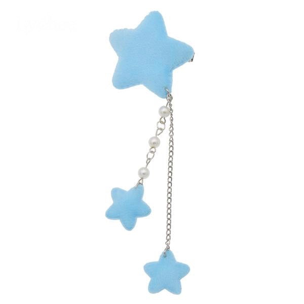 Blue Star Dangling Hair Charm Clip Hairclip Pin Fairy Kei Harajuku Japan Kawaii Fashion Pearls
