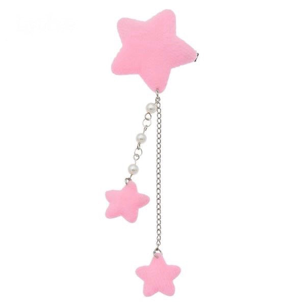 Pink Star Dangling Hair Charm Clip Hairclip Pin Fairy Kei Harajuku Japan Kawaii Fashion Pearls