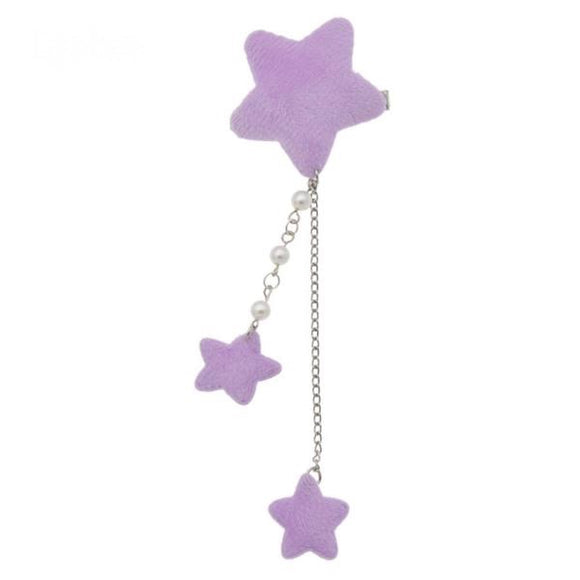Purple Star Dangling Hair Charm Clip Hairclip Pin Fairy Kei Harajuku Japan Kawaii Fashion Pearls