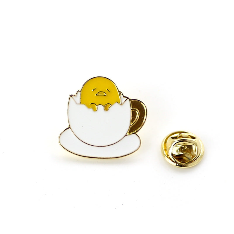 lazy gudetama egg enamel pin lapel brooch happy yellow egg yolk kawaii harajuku japan fashion accessories by kawaii babe