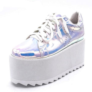 Silver Holographic Platform Wedge Shoes Sneakers Sky High Harajuku Kawaii Japan Street Fashion