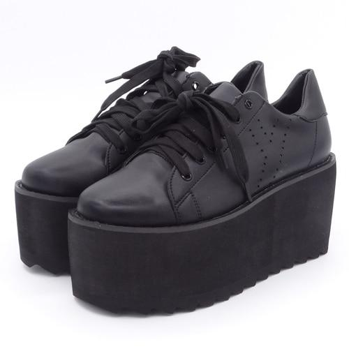Black Platform Wedge Shoes Sneakers Sky High Harajuku Kawaii Japan Street Fashion