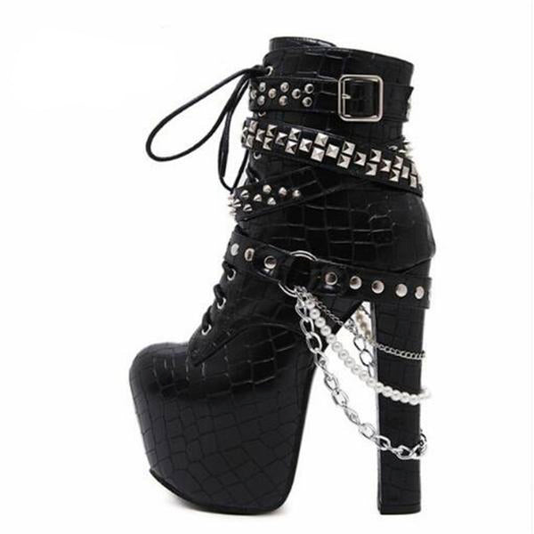 studded chain punk rock motorcycle boots biker ankle booties sky high platform heels silver chain edgy streetwear fashion footwear goth shoes by kawaii babe