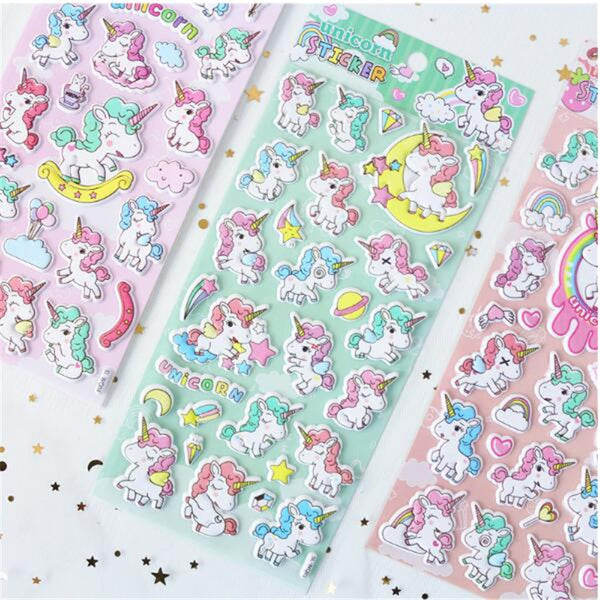 Puffy Unicorn Stickers