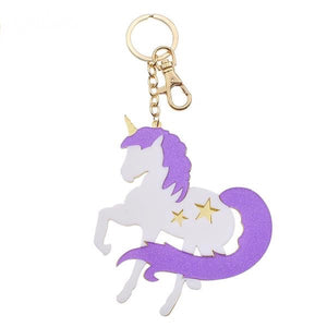magical unicorn acrylic keychain lobster claw clasp key charm mahou shoujo purple glitter gold hardware