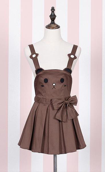 Brown bear kitty cat jumper dress pleated skirt dunagrees little space ddlg abdl cgl cglre age regression kawaii fashion outfit