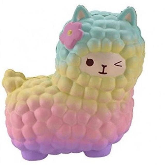 rainbow alpaca squeeze toy stress ball stress relief autism stim stimming kawaii fairy kei by kawaii babe