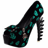 green black goth skull bones spinal cord pumps high heels stilettos punk rock streetwear fashion vegan leather unique 3d heels by kawaii babe