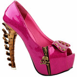 pink goth skull bones spinal cord pumps high heels stilettos punk rock streetwear fashion vegan leather unique 3d heels by kawaii babe