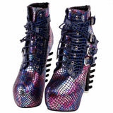 edgy punk rock snake skin ankle booties gothic fashion boots 3d spinal cord heels snakeskin vegan leather strappy lace up buckle shoes streetwear by kawaii babe