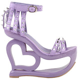 purple hollow heart cut out platform heel sandals high heels shoes punk rock edgy studded streetwear footwear fashion ankle strap rivets goth fashion by kawaii babe