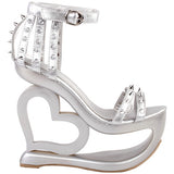 silver hollow heart cut out platform heel sandals high heels shoes punk rock edgy studded streetwear footwear fashion ankle strap rivets goth fashion by kawaii babe