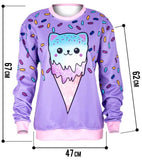 pastel goth fairy kei icecream cone cat sprinkle crewneck sweater sweatshirt long sleeve candy sweets harajuku japan kawaii fashion by kawaii babe
