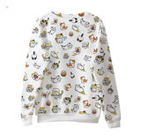 white neko atsune kitty cat crewneck sweater sweatshirt long sleeve warm casual harajuku japan fashion by kawaii babe