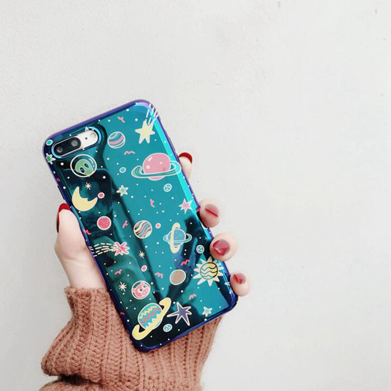 shiny holographic outer space iphone case phone protector cases  planets moon stars intergalactic galaxy by kawaii babe