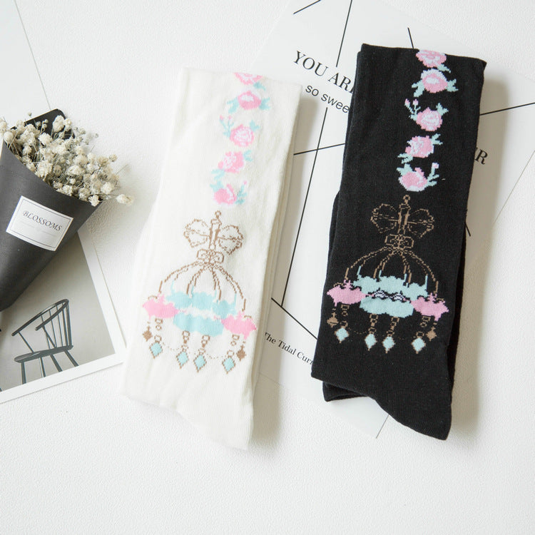 magical kingdom crystal chandelier flower stockings thigh high knee socks lolita harajuku japan fashion pastel goth fairy kei by kawaii babe