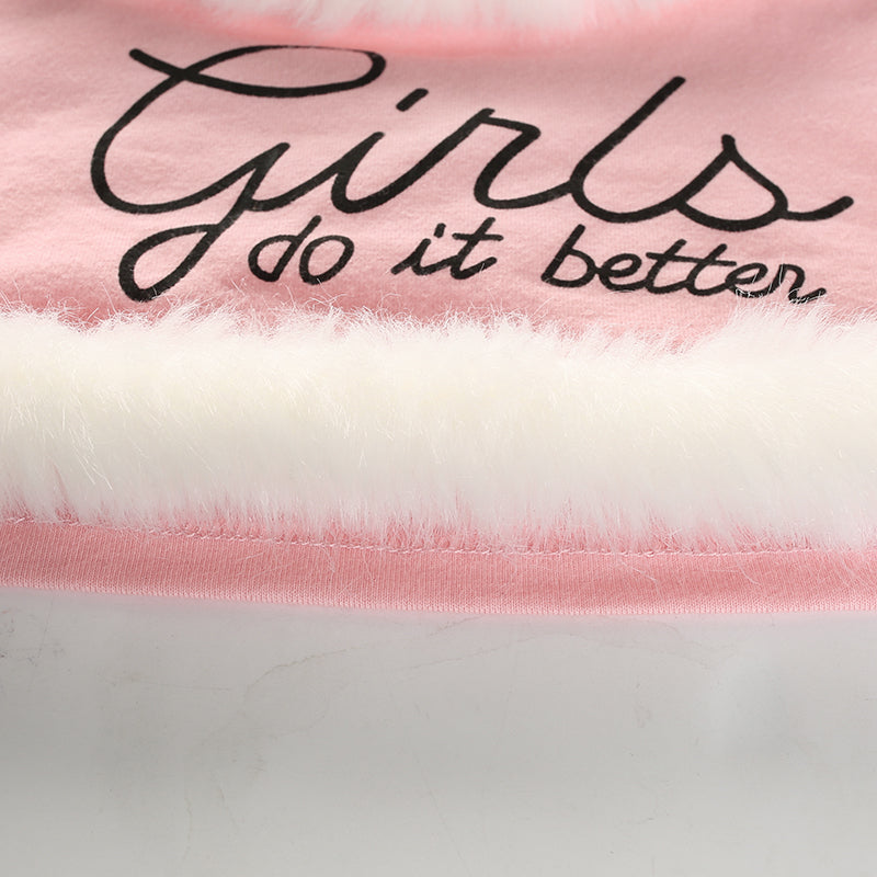 girls do it better pink cropped halter top vegan faux fur trim snow princess feminism feminist girl power girly girl by kawaii babe