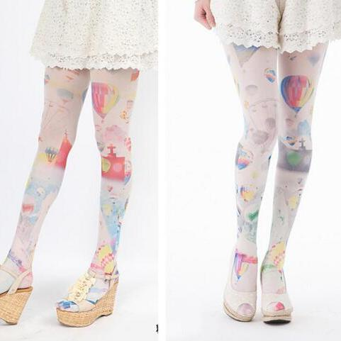 whimsical hot air balloon ride tights sweet lolita mori girl harajuku japan fashion by kawaii babe