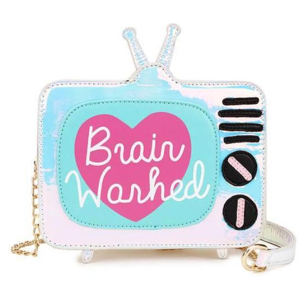 3d holographic television set Brain washed handbag purse shoulder bag k-pop japan harajuku fashion shiny metallic by kawaii babe
