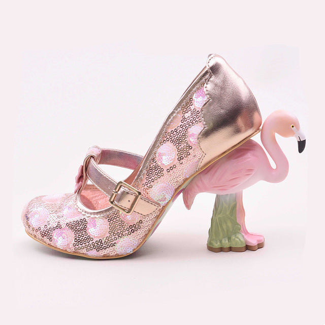 3d pink flamingo lace high heels pumps lolita fashion strange unusual heeled bird  harajuku japan street fashion by kawaii babe