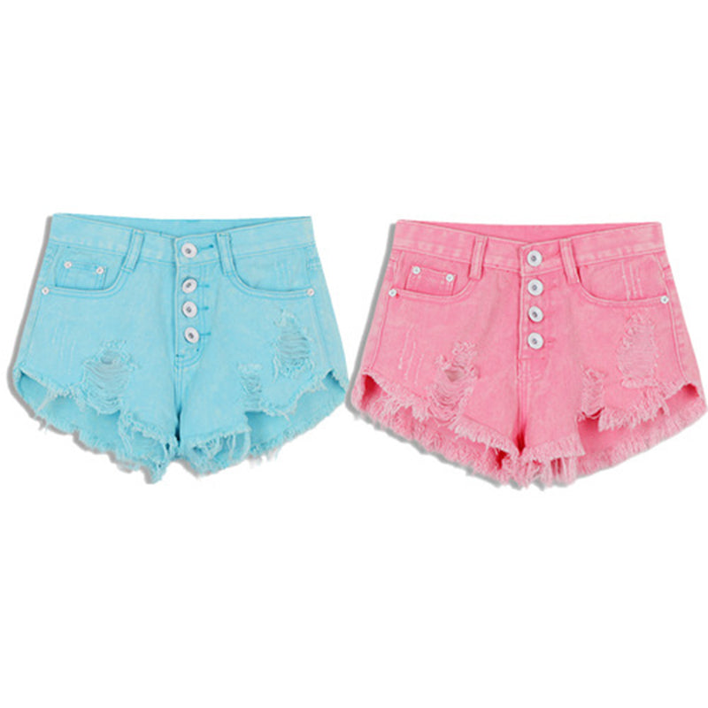 candy colored distressed jean shorts button up ripped denim acid washed summer shorts by kawaii babe
