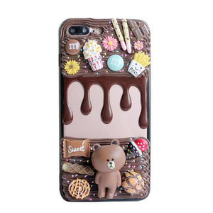 Drippy Chocolate iPhone Android Phone Cases Candy Bar Popcorn Phone Protector Cover Milky Kawaii Cute
