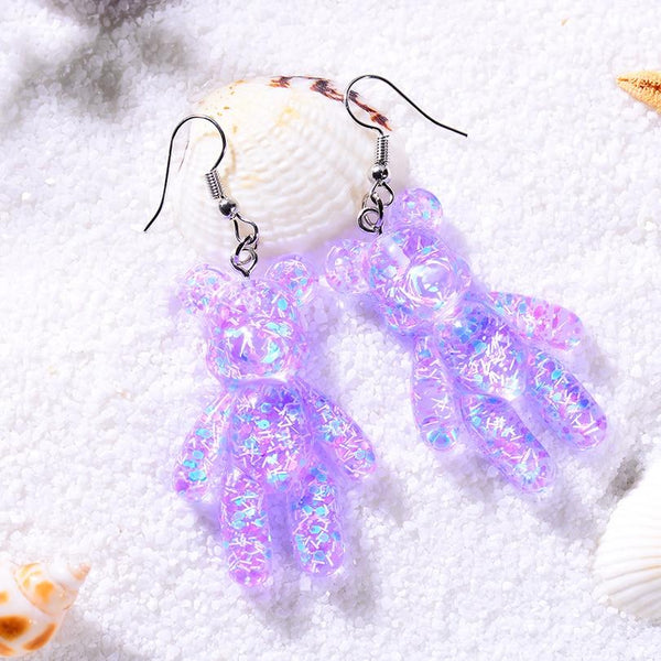 Purple Glitter Resin Bear Dangle Earrings Shimmer Fairy Kei Decora Japan Fashion Kawaii Jewelry