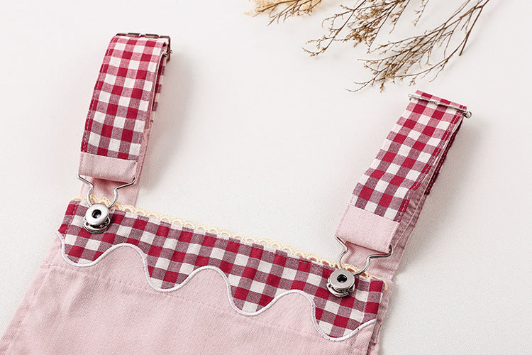 country girl plaid suspender  jumper dress mori girl lolita complete outfit with ruffled long sleeve shirt little girl youthful ddlg little space young girl fashion by kawaii babe