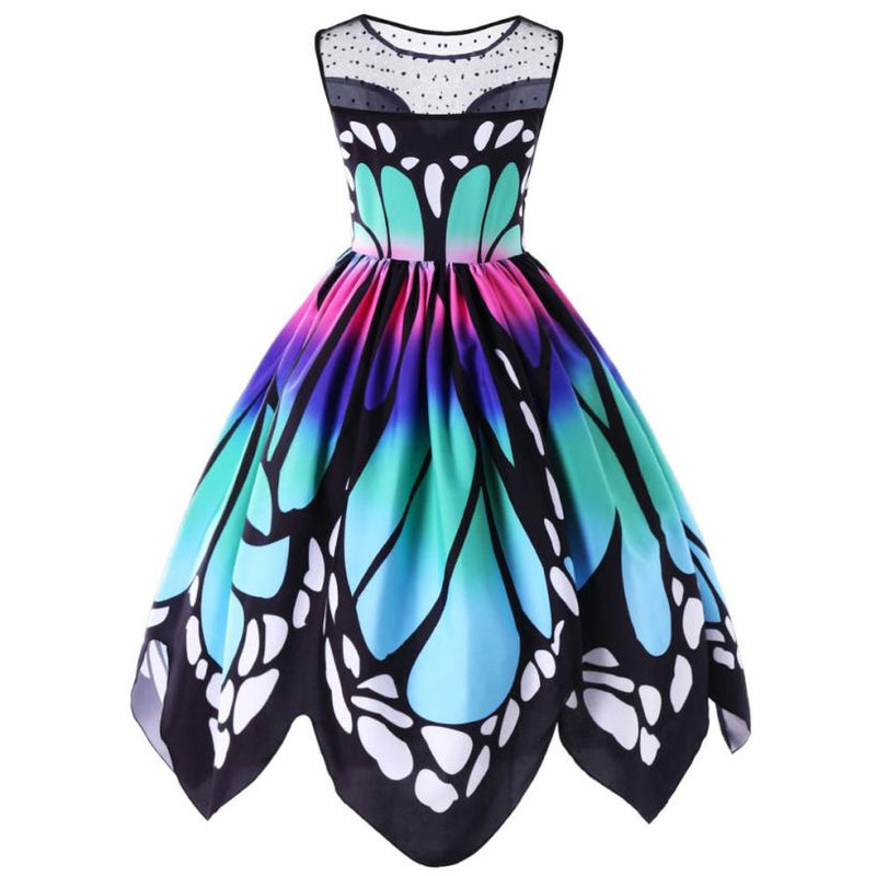 monarch butterfly dress sleeveless wing shaped blue purple summer spring by kawaii babe