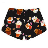 Muffin Cupcake Shorts Athletic Kawaii Black Love Hearts