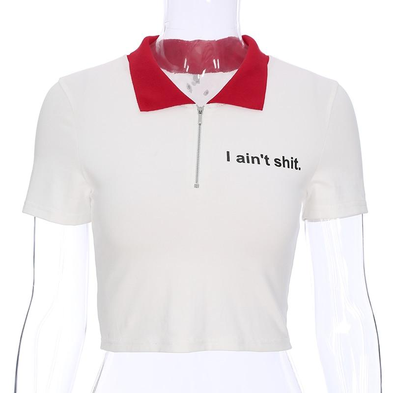 White I Aint Shit Crop Top Red Collar Zipper Belly Shirt Hipster