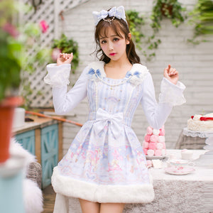 fairy kei lolita dress long sleeve vegan faux fur pastel aesthetic japan harajuku street fashion long dress coat light blue pearls candy rain by kawaii babe