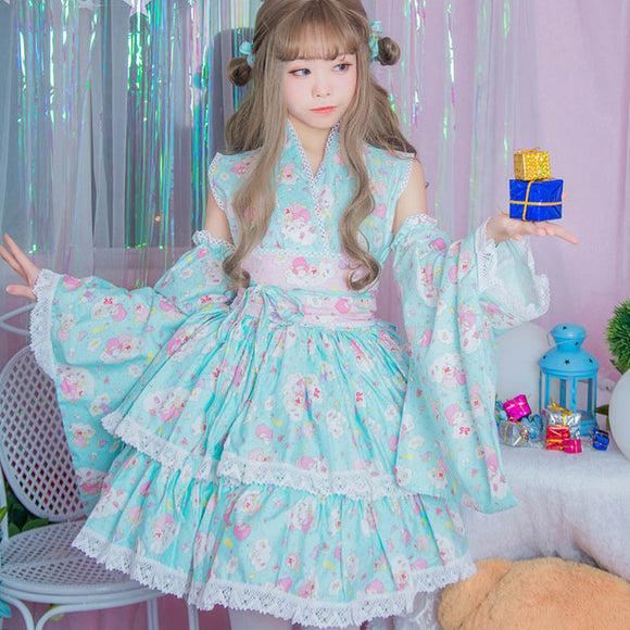 dd825baaee8 sanrio little twin stars kimono dress japanese kawaii fashion pleated  ruffled skirt traditional fairy kei by