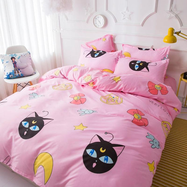 sailor moon luna cat bedding set bedroom linen duvet cover pink otaku anima girl mahou shoujo kawaii
