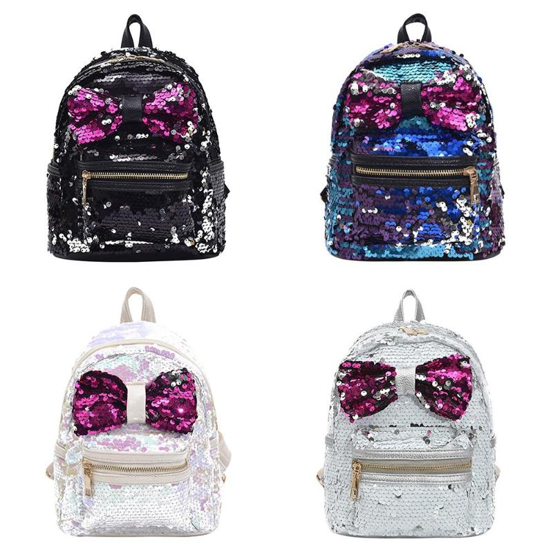 Sequin Bow Backpack
