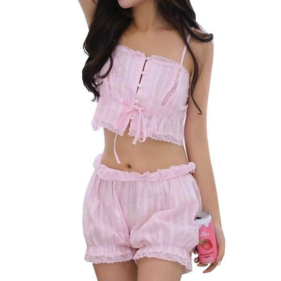 Sweet Pink Lolita Pajamas Pj's Nightwear Crop Top Shorts Cute Kawaii Summer Sleepwear