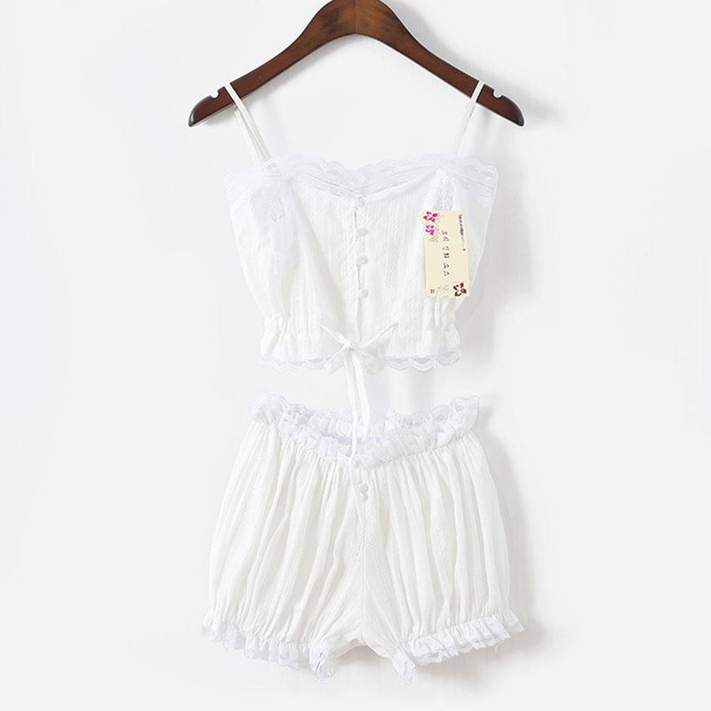 Sweet White Lolita Pajamas Pj's Nightwear Crop Top Shorts Cute Kawaii Summer Sleepwear