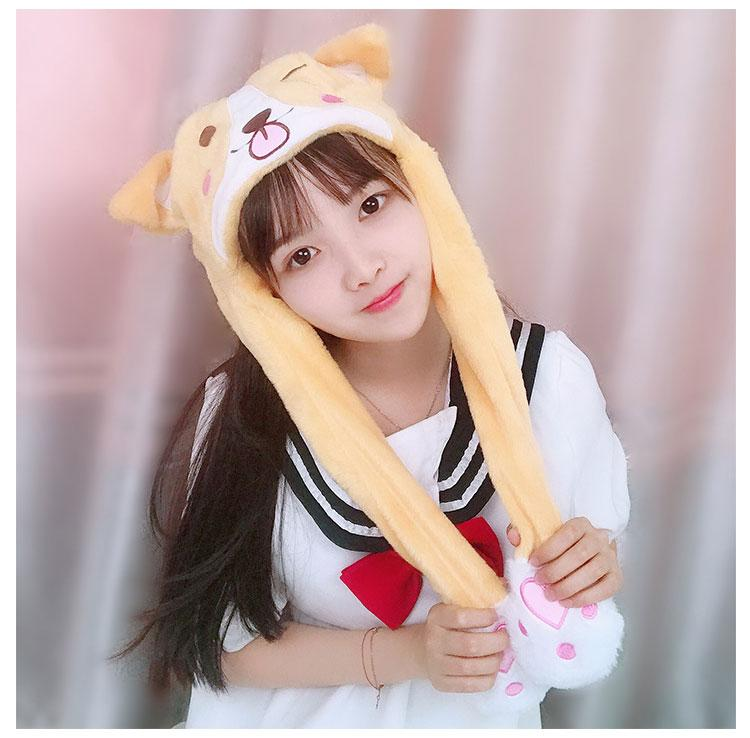 Kawaii Puppy Dog Face Spinning Ear Hat Winter Toque Warm Cute