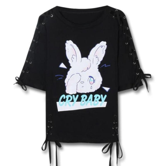 Cry Baby Bunny T-Shirt Lace Up Laces Top Pastel Goth Kawaii Fashion