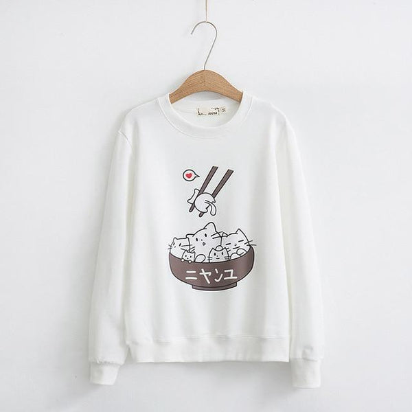 Kawaii White Kitty Cat Kitten Rice Bowl Crewneck Sweatshirt Sweater Sushi Japan Harajuku Fashion