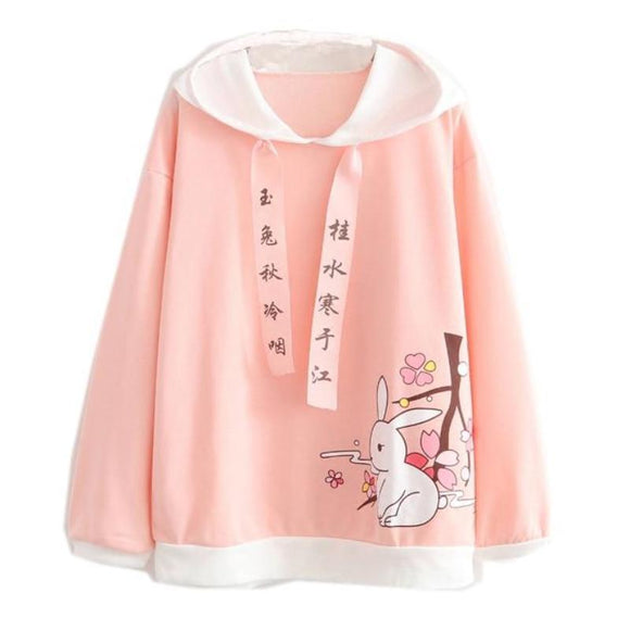 Pink Japanese Bunny Rabbit Hoodie Sweater Poncho Cape Harajuku Japan Kawaii Cherry Blossom Tree Branch Flowers