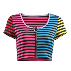 Striped Zip Up Crop Top