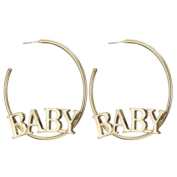 Gold Baby Hoop Earrings ABDL Age Play Jewelry