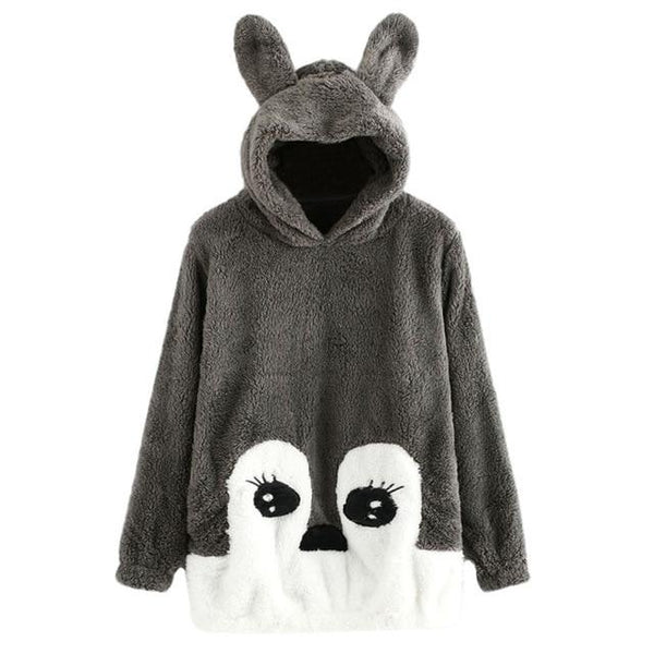 Kawaii Furry Fuzzy Deer Bunny Rabbit Hoodie Pullover Sweater Sweatshirt Cute Japan Fashion