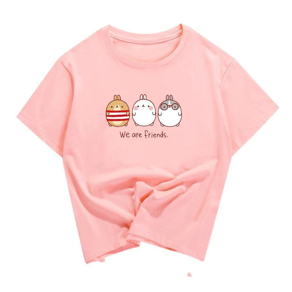 Pink We Are Friends Baby Bunny T-Shirt Tee Crop Top Belly Shirt Kawaii
