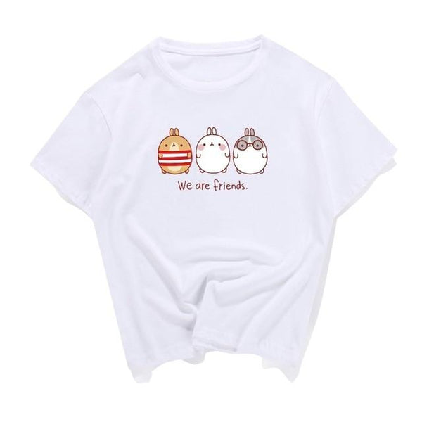 White We Are Friends Baby Bunny T-Shirt Tee Crop Top Belly Shirt Kawaii