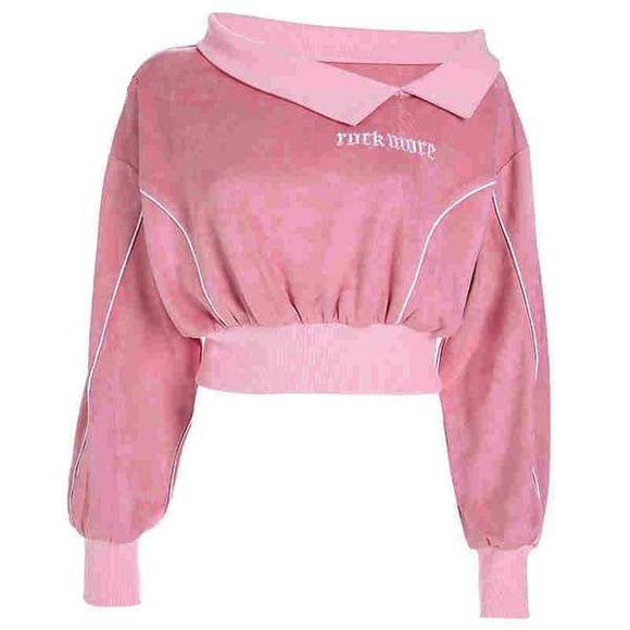 Pink Suede Rock More Long Sleeve Cropped Sweater Sweatshirt Crop Shirt