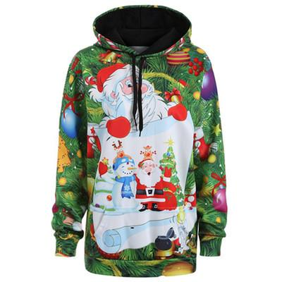 Green Christmas Santa Hoodie Sweatshirt Hooded Sweater Santa Clause Feliz Navidad Holidays
