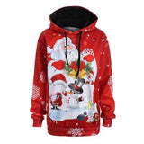 Red Christmas Santa Hoodie Sweatshirt Hooded Sweater Santa Clause Feliz Navidad Holidays